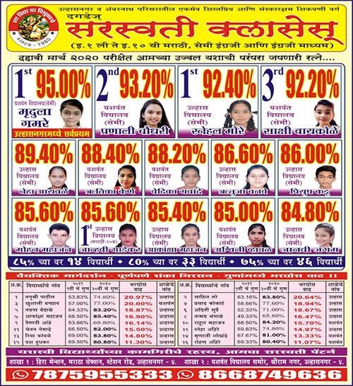 Saraswati Classes Topper 2020
