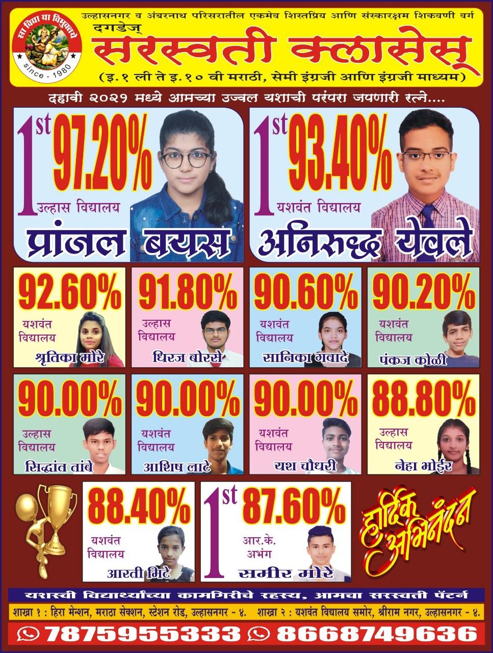 Saraswati Classes Topper 2021